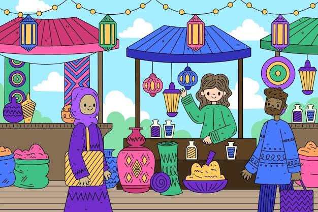 Bazar arabe des gens heureux à la recherche de produits