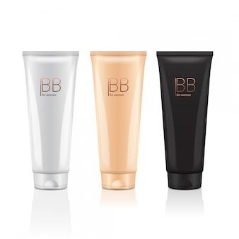 Bb crème de différentes couleurs de tubes réalistes. paquets de fond de teint