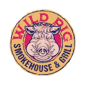 Bbq badge emble logo modèle texte modifiable maison fumée cochon sauvage