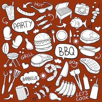 Bbq barbecue party grill doodle