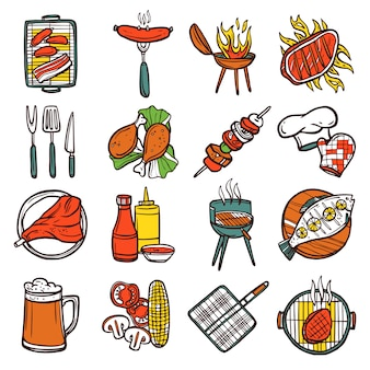 Bbq grill colored icons set