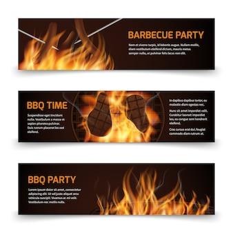 Bbq grill parti bannières vectorielles horizontales