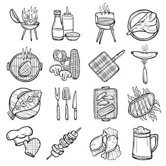 Bbq grill set d'icônes