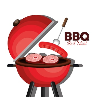 Bbq party meilleure viande vector illustration design