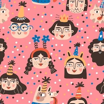 Bday personnages garçons et filles dans des chapeaux de cône, modèle sans couture. fête d'anniversaire.