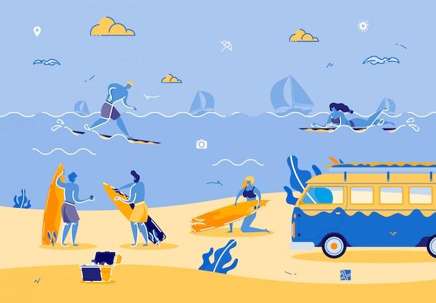 Beach party avec des personnes profitant de l'heure d'été chaude