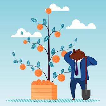Bear dig pelle dollar arbre dollar investissement