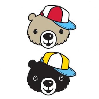 Bear Polar Bear Chapeau Personnage De Dessin Animé Vecteur Premium