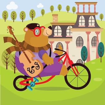 Bear ride bicyle illustration de dessin animé