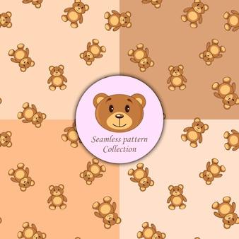 Bears brown set de différentes couleurs de modèle sans couture