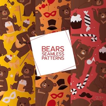 Bears set of seamless pattern. dessin animé ours grizzly brun. teddy dans différentes pose et activités, assis, effrayant, dansant et jouant à la balalaïka,