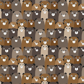 Bears vector pattern background.
