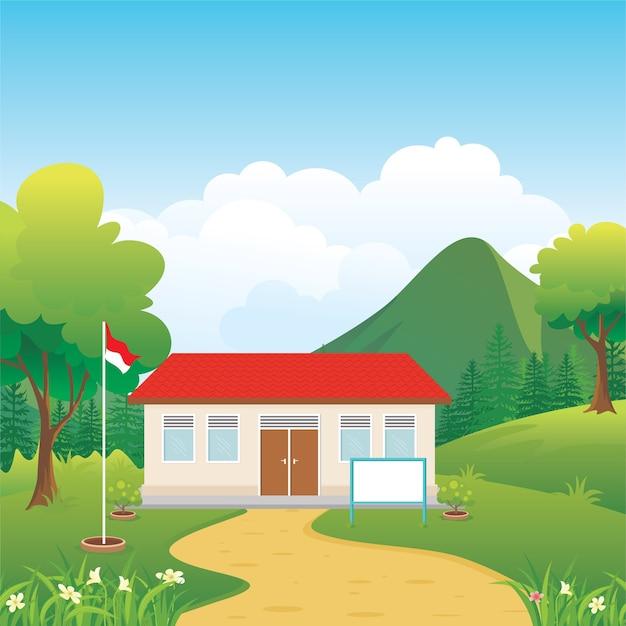 Beau bâtiment scolaire indonésien dans l'illustration de la campagne