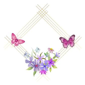 Beau beau cadre de fleur de printemps aquarelle