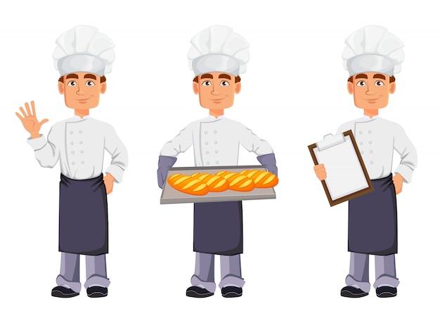 Beau boulanger en uniforme professionnel