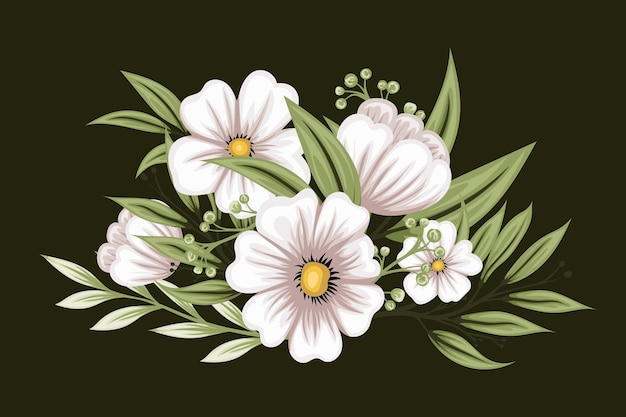 Beau bouquet de fleurs blanches