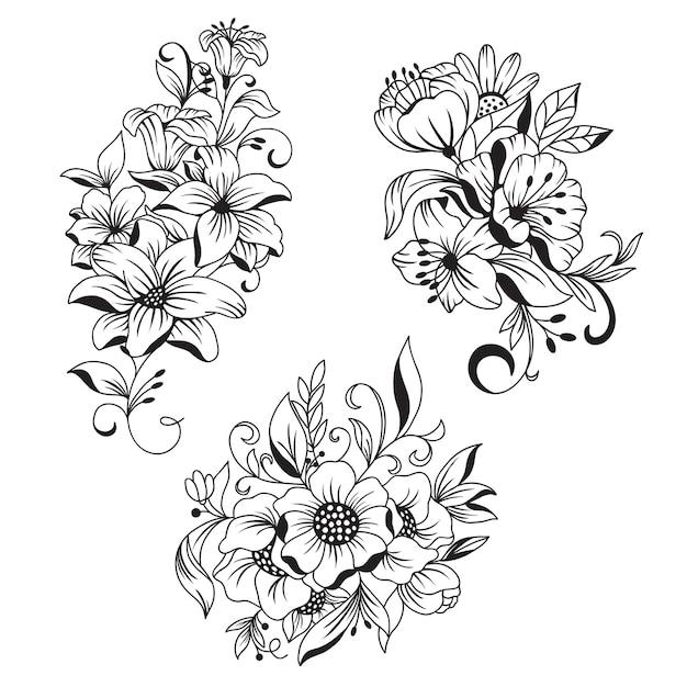 Beau bouquet de fleurs dessiné à la main