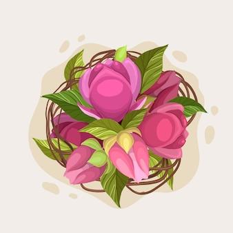 Beau bouquet floral de roses roses
