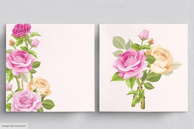 Beau bouquet rose tendre d'illustrations de roses dessinées à la main