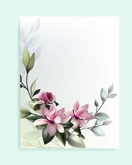 Beau Cadrage Floral Vecteur Premium