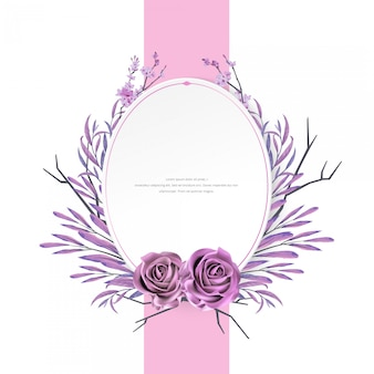 Beau cadre aquarelle floral et rose