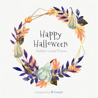 Beau cadre aquarelle lineal doré avec concept halloween