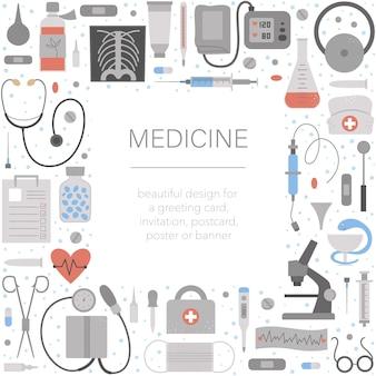 Beau cadre carré avec équipement médical et outils