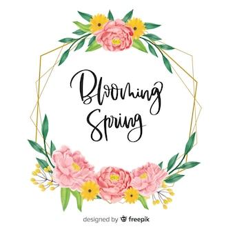 Beau cadre de citation de printemps avec motif floral