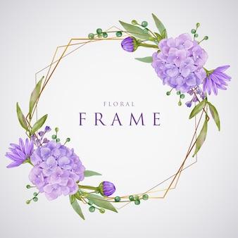 Beau cadre doré aquarelle hortensia violet