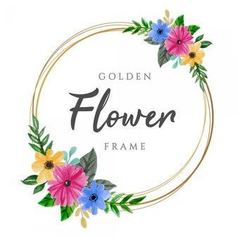 Beau cadre de fleur aquarelle