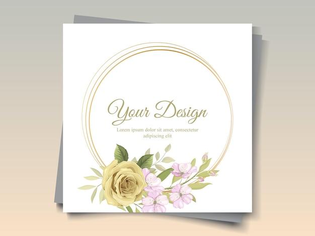 Beau cadre de fleur pour l'ornement de carte de voeux