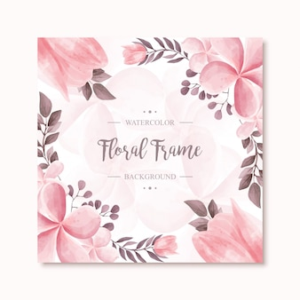 Beau cadre de fleurs aquarelle florale