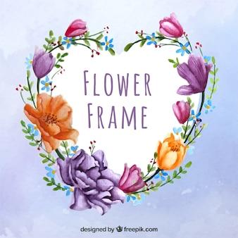 Beau cadre avec des fleurs d'aquarelle