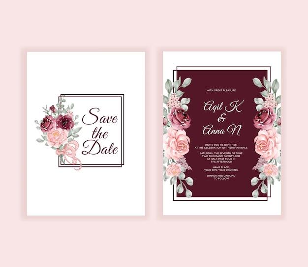 Beau cadre de fleurs et de feuilles d'invitation de mariage