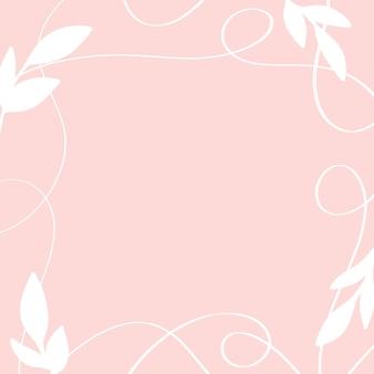 Beau cadre de fleurs avec des feuilles et des lignes plantes abstraites fleurs espace pour le texte