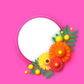 Beau cadre de fleurs de gerbera style papercut