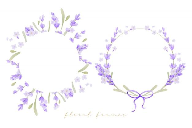Beau cadre floral avec aquarelle de fleurs de lavande