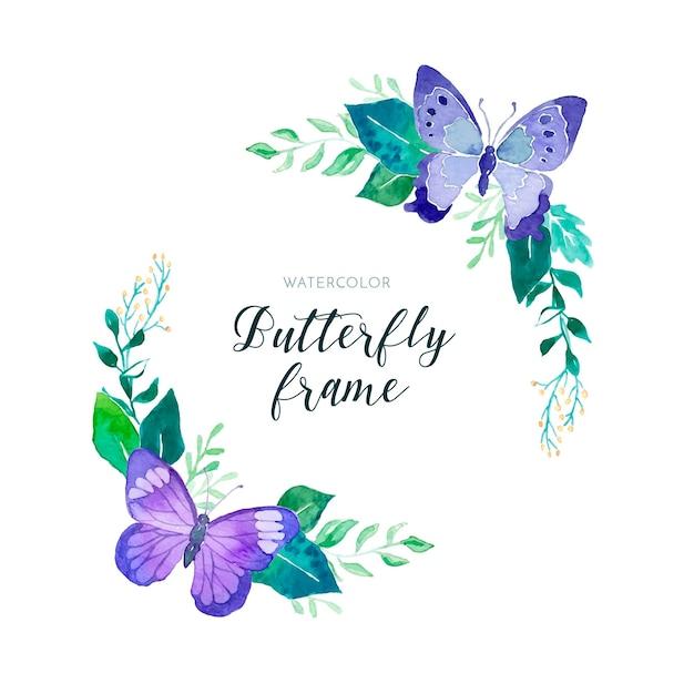 Beau cadre floral aquarelle avec des papillons