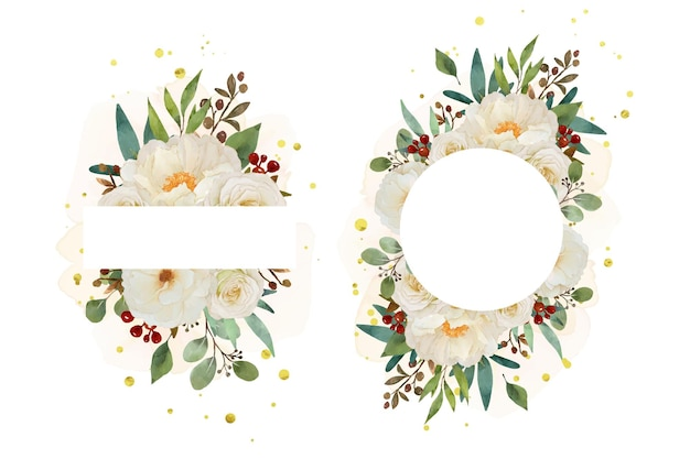 Beau cadre floral avec aquarelle rose blanche et fleur de pivoine