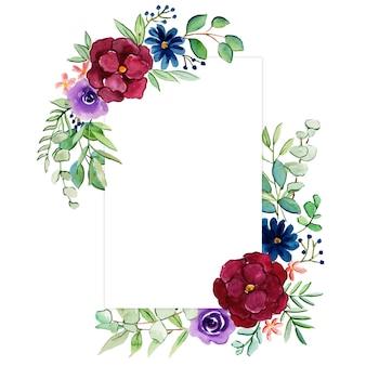 Beau cadre floral aquarelle à usages multiples