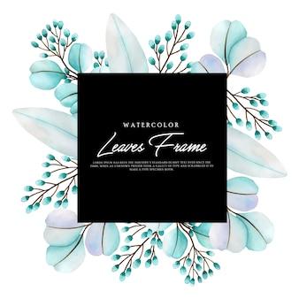 Beau Cadre Floral D'aquarelle Vecteur Premium