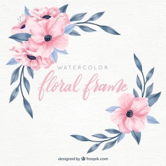 Beau cadre floral aquarelle