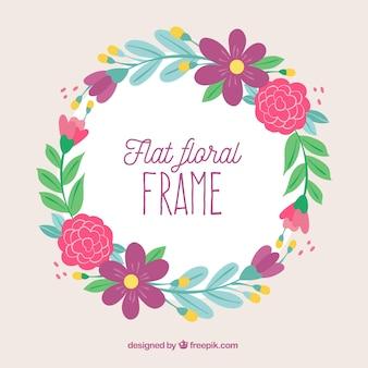 Beau cadre floral avec un design plat