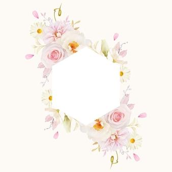 Beau cadre floral avec dahlia roses aquarelle et pivoine blanche