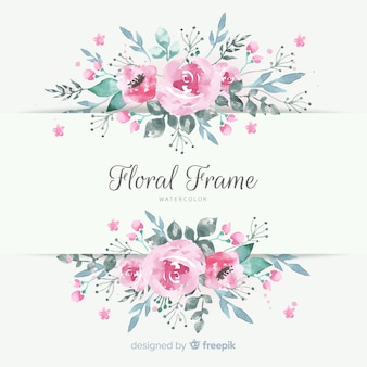 Beau cadre floral dans un style aquarelle