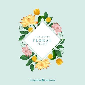 Beau cadre floral avec un design réaliste
