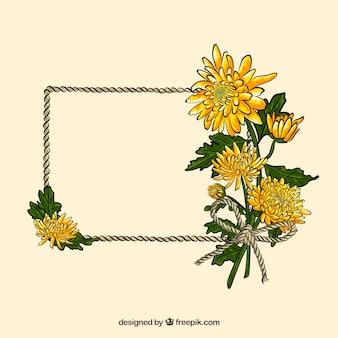 Beau cadre floral dessiné à la main