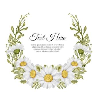 Beau cadre floral avec une élégante carte de fleurs de marguerite blanche