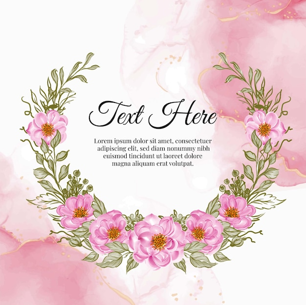 Beau cadre floral avec une élégante carte rose bébé rose
