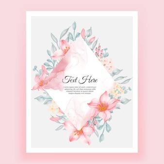 Beau cadre floral avec une élégante fleur de lys rose